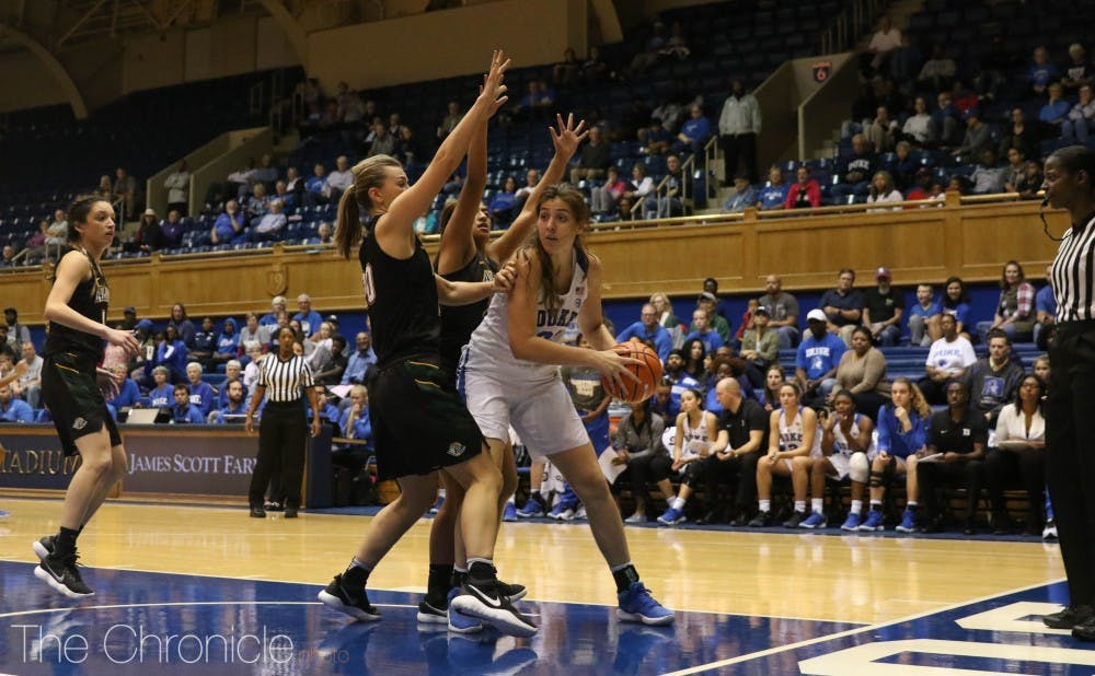 Bego Faz Davalos is one of several Blue Devil post players looking to find a groove and provide support down low for Lexie Brown and Rebecca Greenwell.