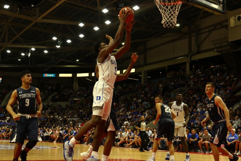 R.J. Barrett averaged 34.5 points in two games in Mississauga, Ontario.