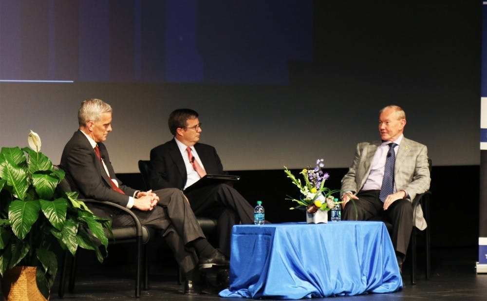 <p>Gen. Martin Dempsey (right) used to be chairman of the Joint Chiefs of Staff and currently teaches a course on campus as a Rubenstein fellow. Dempsey and McDonough discussed some of the country's biggest foreign policy challenges Friday.</p>