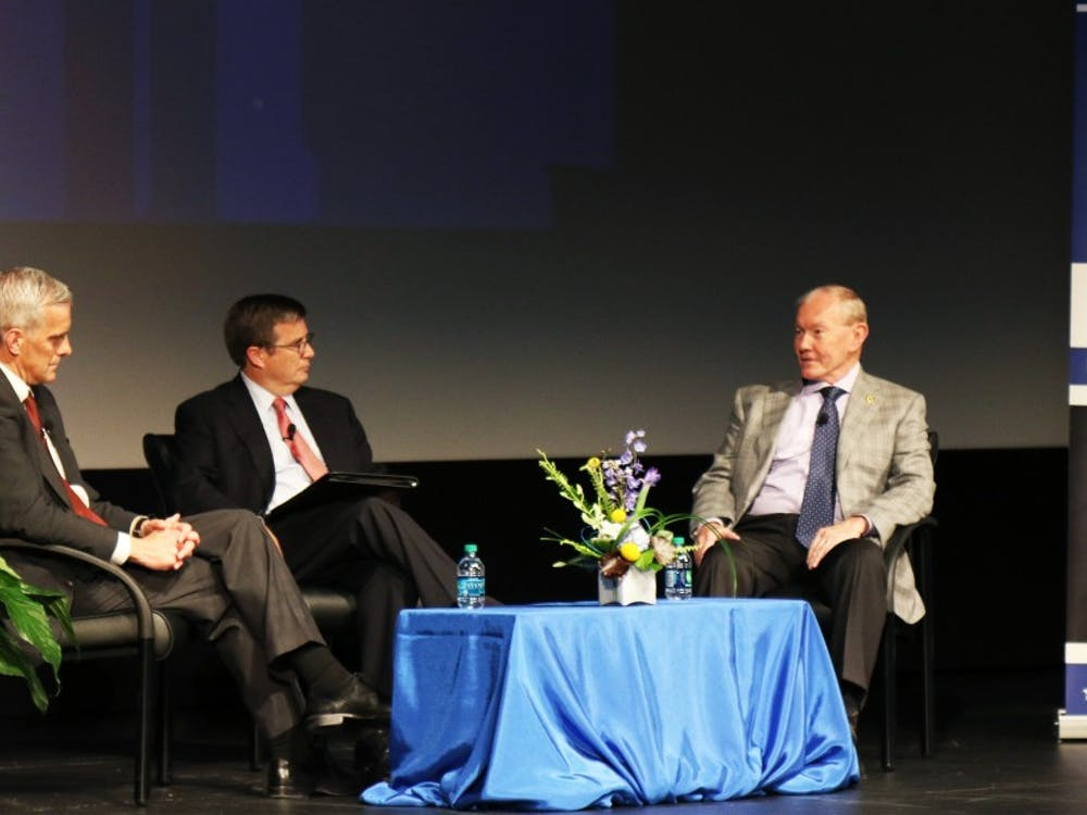 Gen. Martin Dempsey (right) used to be chairman of the Joint Chiefs of Staff and currently teaches a course on campus as a Rubenstein fellow. Dempsey and McDonough discussed some of the country's biggest foreign policy challenges Friday.