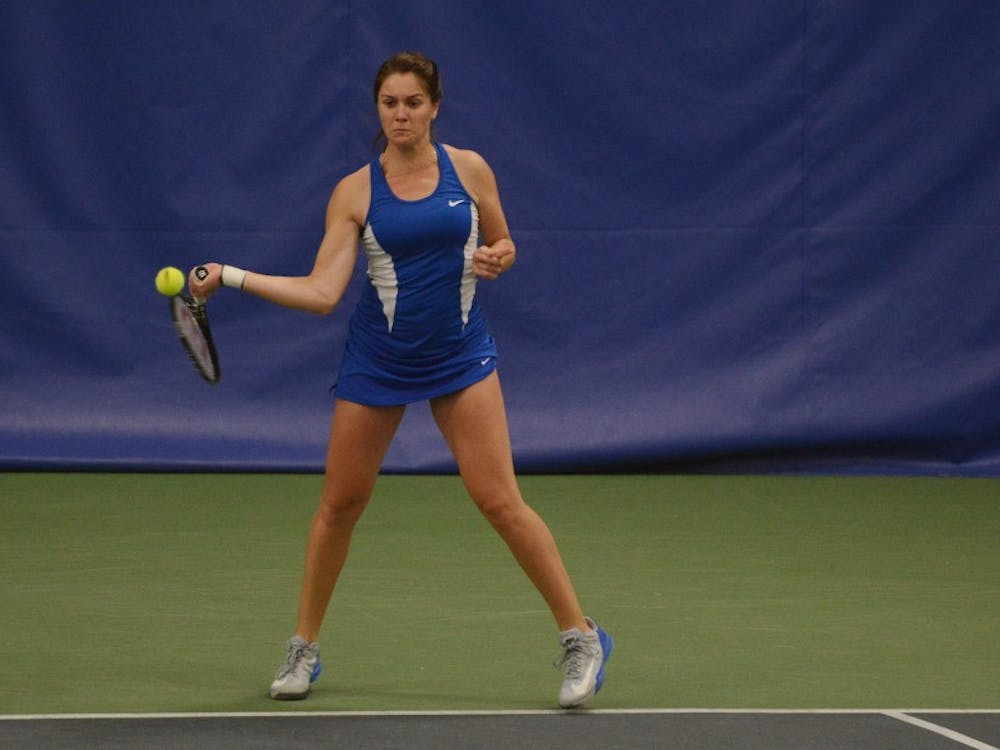 Senior Ester Goldfeld dominated in her time on the court Sunday, clinching the match for the Blue Devils with a two-set win in singles play.