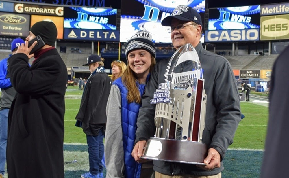 <p>Duke head coach David Cutcliffe led the Blue Devils to their first bowl victory since 1961 in December. Cassie Calvert gained valuable experience from working on Cutcliffe's weekly show.</p>