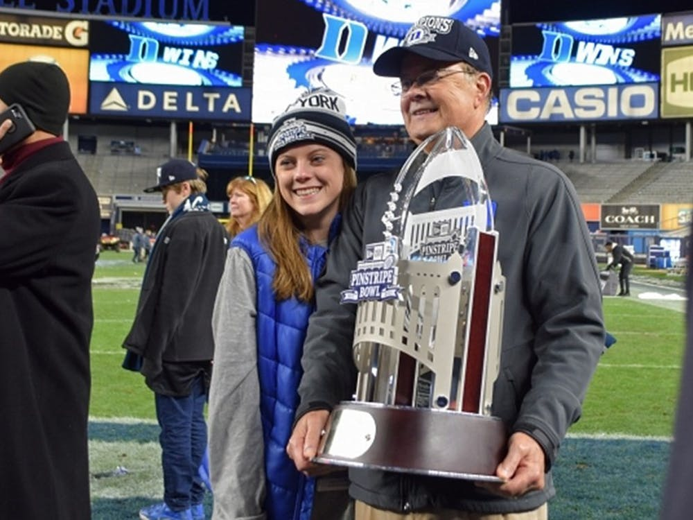 Duke head coach David Cutcliffe led the Blue Devils to their first bowl victory since 1961 in December. Cassie Calvert gained valuable experience from working on Cutcliffe's weekly show.