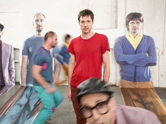 OK GO on the set of The Writing's On The WallBrookyn NY June 2014Photograph by Gus Powell
