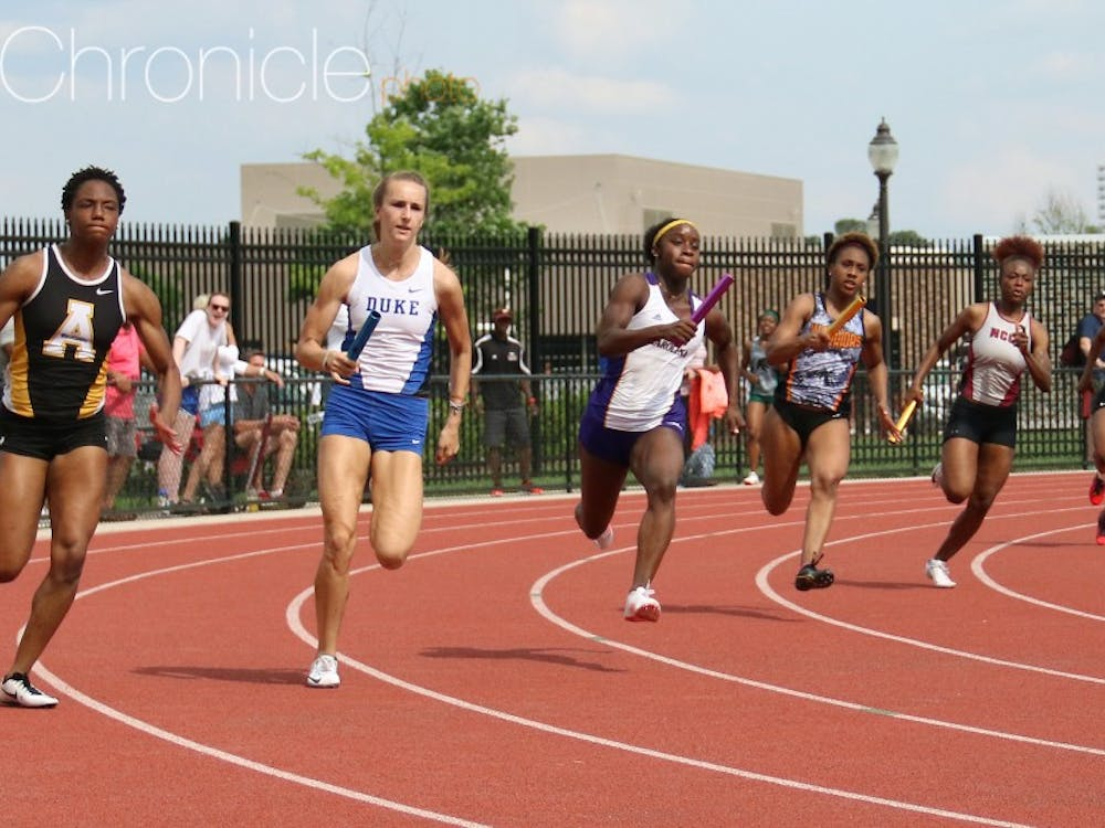 The Blue Devil women set a meet record in the 4-x-400-meter relay as part of a busy weekend.