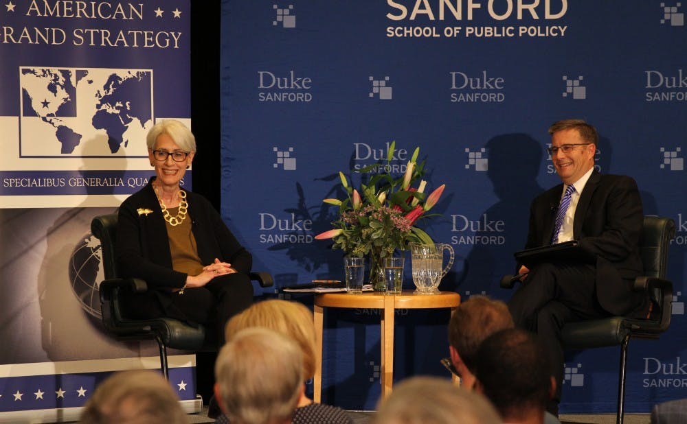 <p>Wendy Sherman (left) was the lead Iran nuclear deal&nbsp;negotiator for the U.S.&nbsp;and spoke with Professor Peter Feaver about the experience Thursday night.&nbsp;</p>
