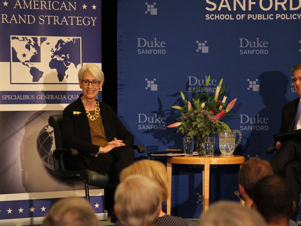 Wendy Sherman (left) was the lead Iran nuclear deal negotiator for the U.S. and spoke with Professor Peter Feaver about the experience Thursday night.