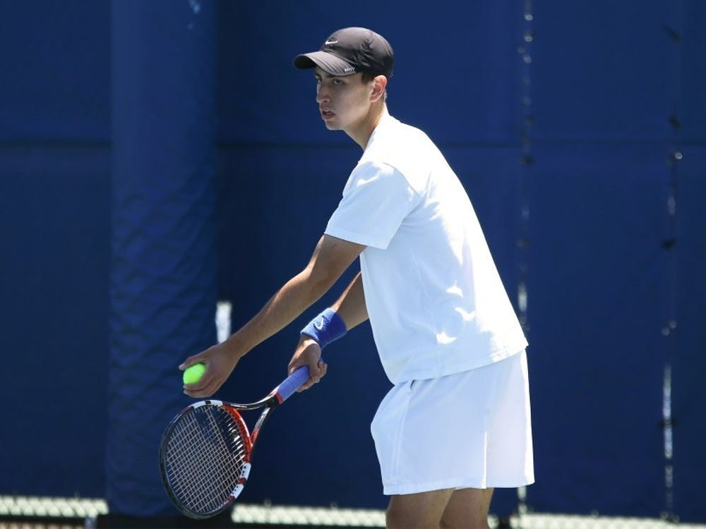 Nicolas Alvarez rallied for a three-set win in singles to lift Duke to victory.