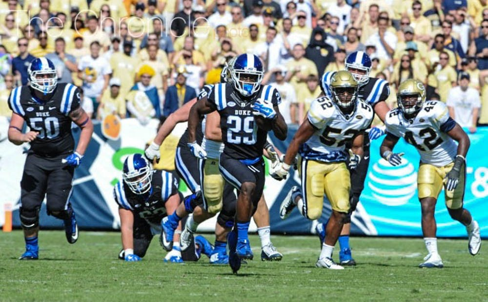 <p>Shaun Wilson topped 100 rushing&nbsp;yards for the first time of the season, but coughed up a critical fumble at the end of 57-yard run in the first half.</p>