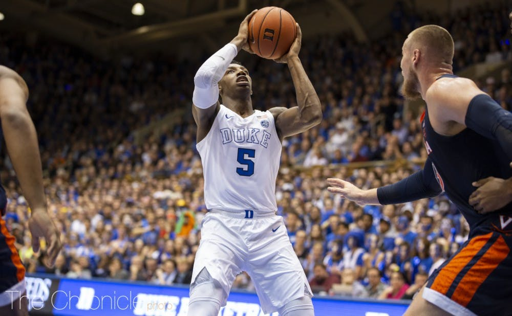 <p>R.J. Barrett had to handle the ball in the teams' last meeting with Tre Jones out.</p>