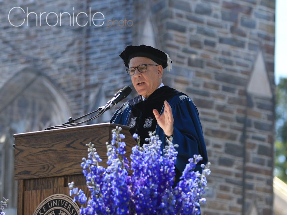 David Rubenstein, former chair of the Board of Trustees, speaking at Commencement in 2017.
