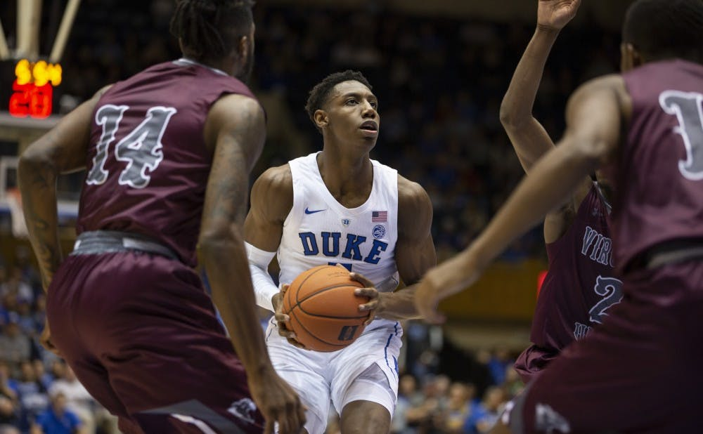 <p>R.J. Barrett led the Blue Devils in scoring during the first half.</p>