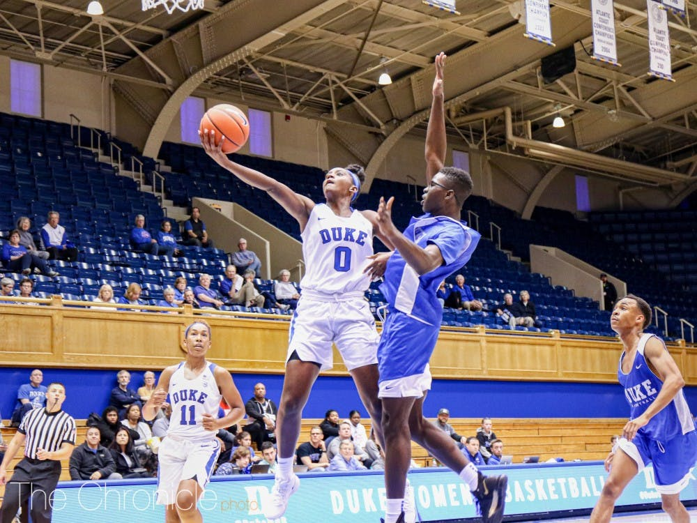 Today was the Duke Women's Basketball Blue vs. White Scrimmage Game. Showing a strong offense, the White team won against the Blue team, the final score being 89-71.