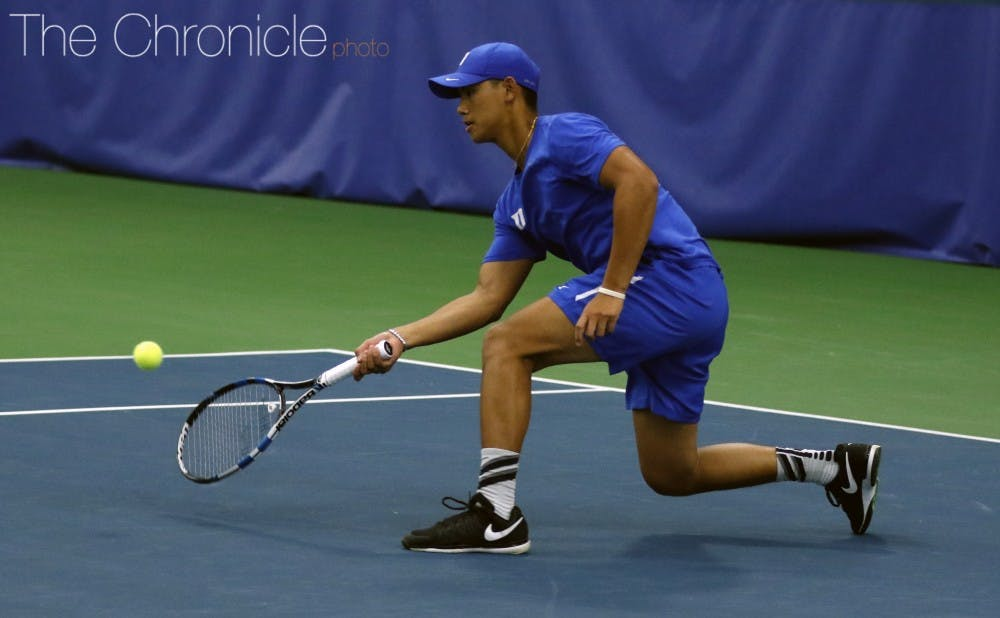 <p>Vincent Lin and the Blue Devils lost the doubles point but managed to bounce back and win all six singles matches.&nbsp;</p>