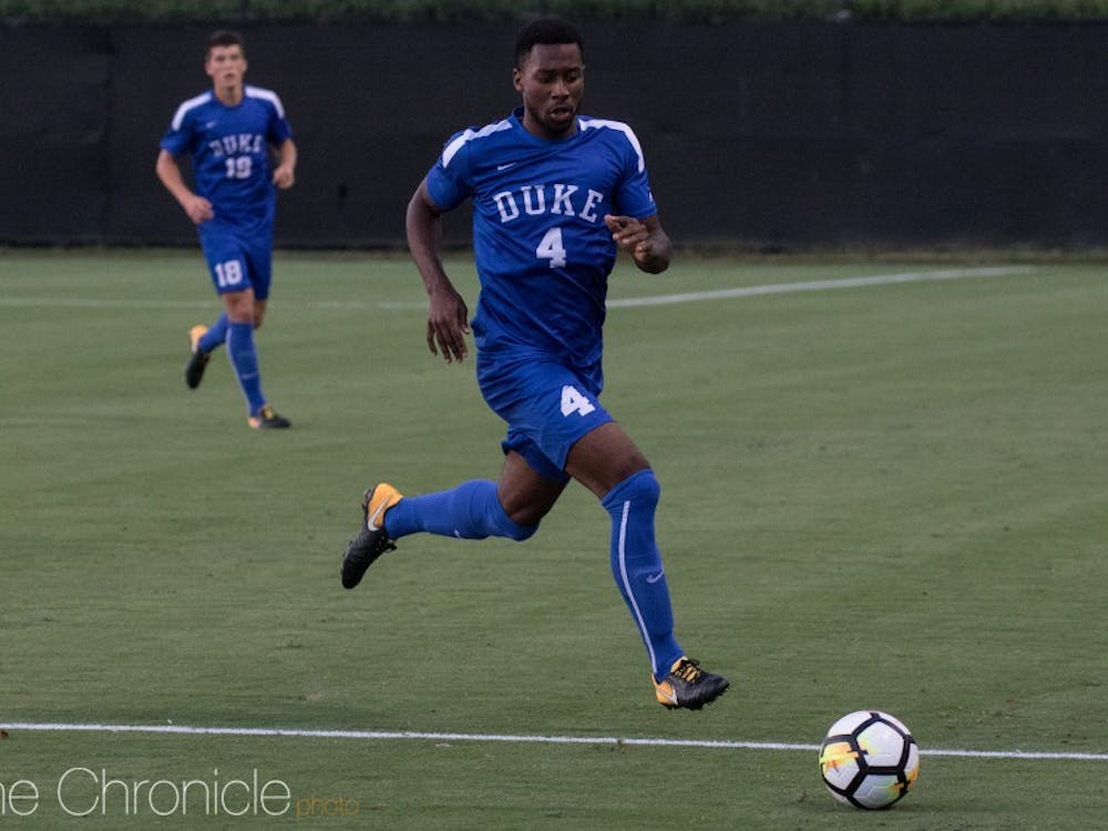 Senior defender Kevon Black scored Duke's first goal of the night shortly after he was elbowed in the face on a corner kick.