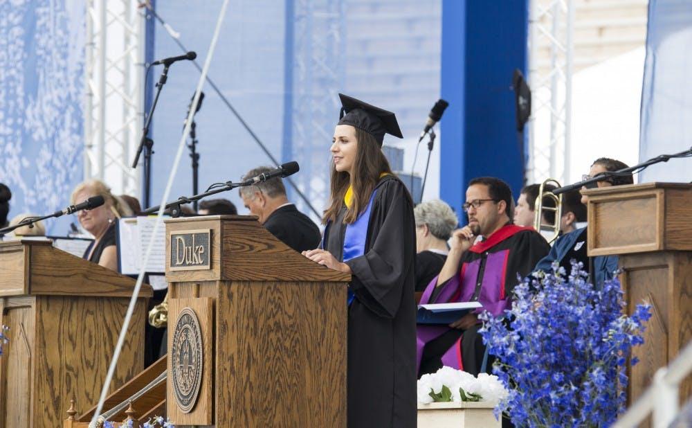 <p>Student speaker Leah Rosen addressed the graduates at commencement.&nbsp;</p>