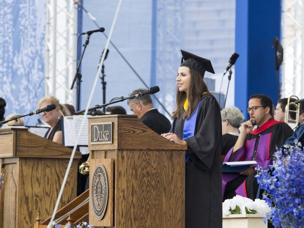 Student speaker Leah Rosen addressed the graduates at commencement.