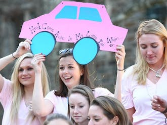 Members of Zeta Tau Alpha welcome new sisters to the sorority during Bid Day, the culmination of two weeks of Panhellenic Association recruitment.