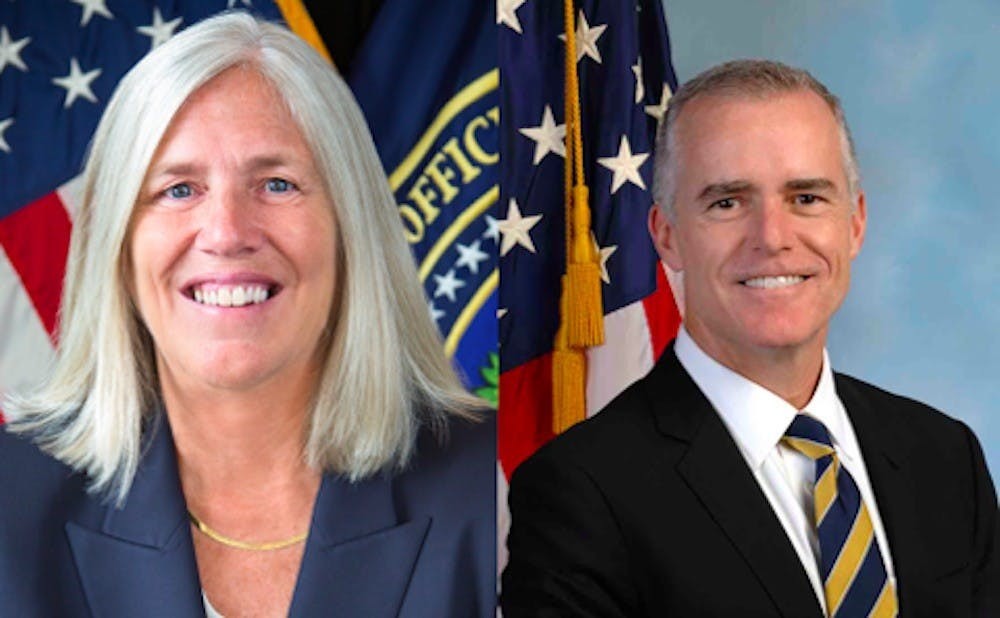 <p>Two Duke alumni were once top national security officials: Sue Gordon (left) and Andrew McCabe (right).</p>
