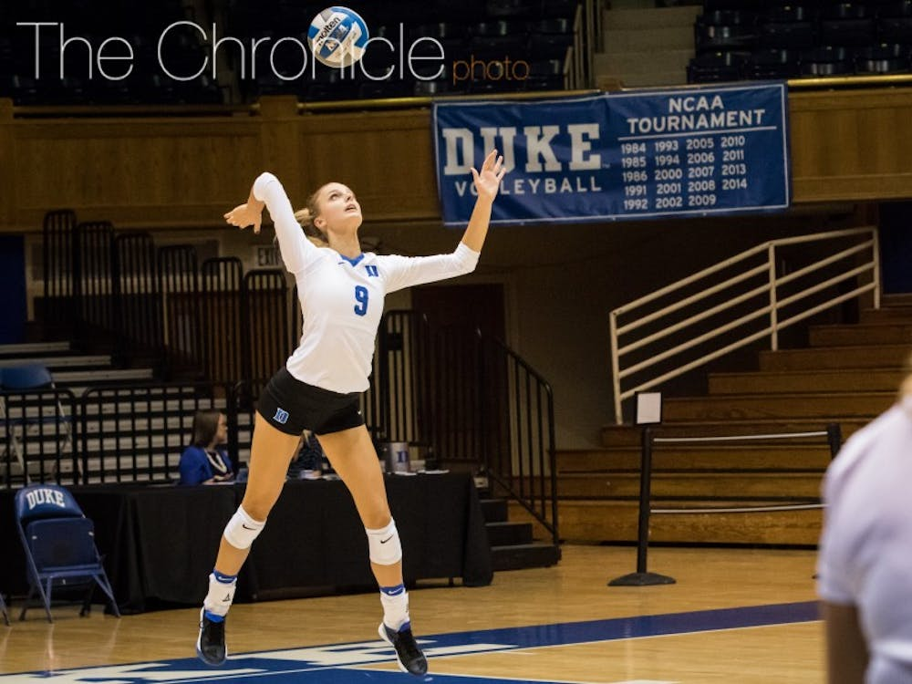 Freshman Cindy Marina stuffed the stat sheet against the Cavaliers with 49 assists and 22 digs.
