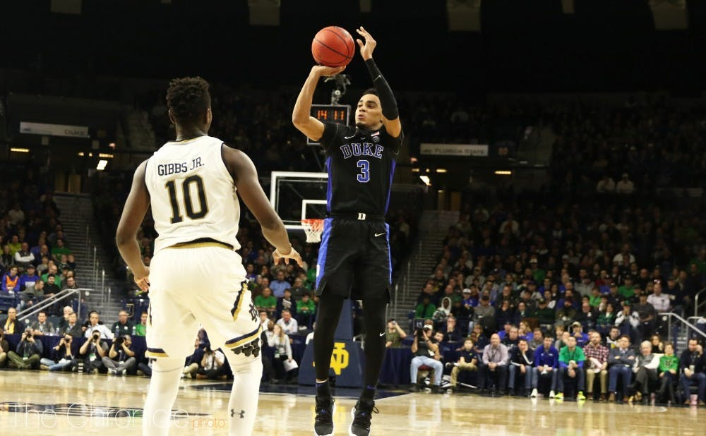 <p>Duke connected on 10 of its 19 3-point attempts Monday night.</p>