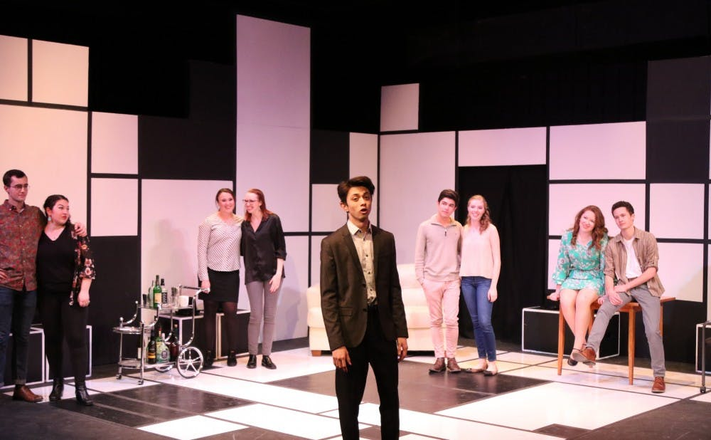"<p>First-year CJ Cruz (center) stars in ""Company,"" which runs in the Bryan Center's Sheafer Lab Theater through this weekend.</p>"