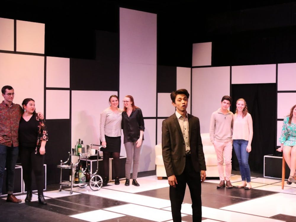 """First-year CJ Cruz (center) stars in """"Company,"""" which runs in the Bryan Center's Sheafer Lab Theater through this weekend."""