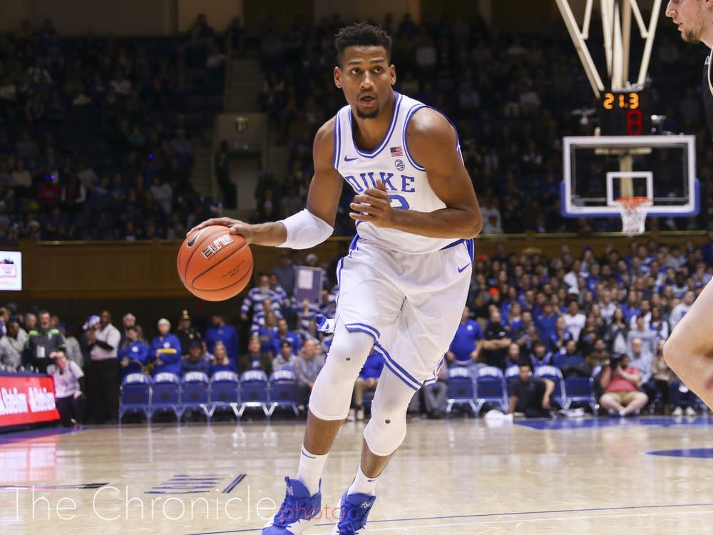 Javin DeLaurier was one of the Blue Devils struggling with foul trouble, though he played well inside.