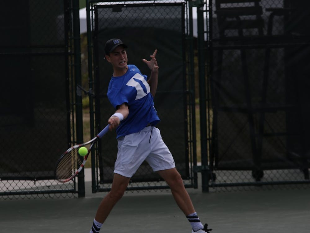 Sophomore Nicolas Alvarez led 4-0 in the third set but was not able to finish his revenge match with Notre Dame's Quentin Monaghan before the Fighting Irish secured the team victory.