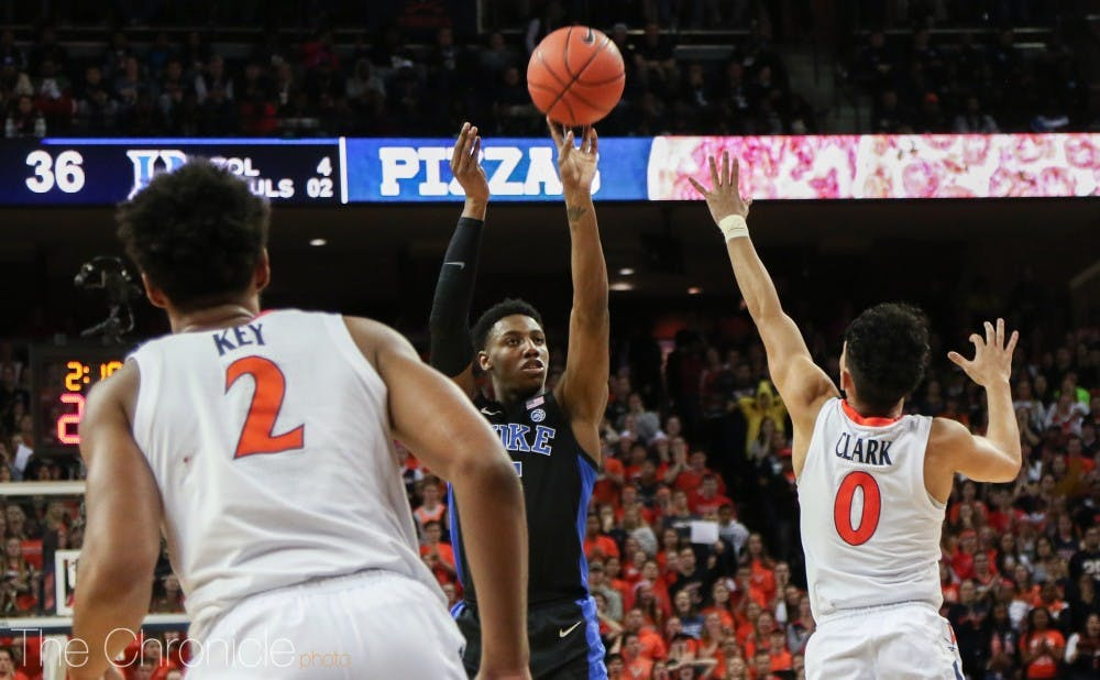 <p>R.J. Barrett could not miss from downtown in the first half Saturday.</p>