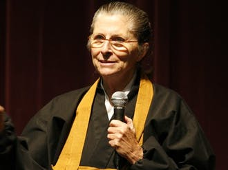 "Duke Chapel's Faith Council and the Buddhist community at Duke hosted Joan Halifax Tuesday night at Griffith Theater for a talk titled ""Living in a World of Radical Uncertainty."""
