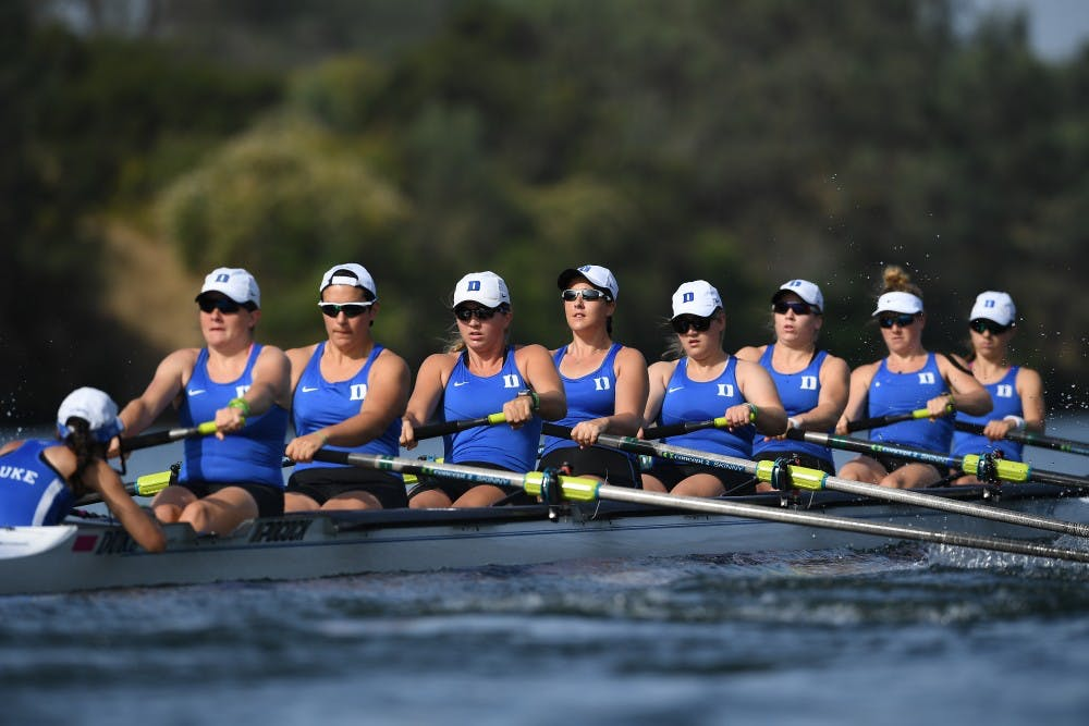 <p>The Blue Devils' 2V8 won its last race of the season Sunday in the C final to finish 13th at the NCAA championship.</p>