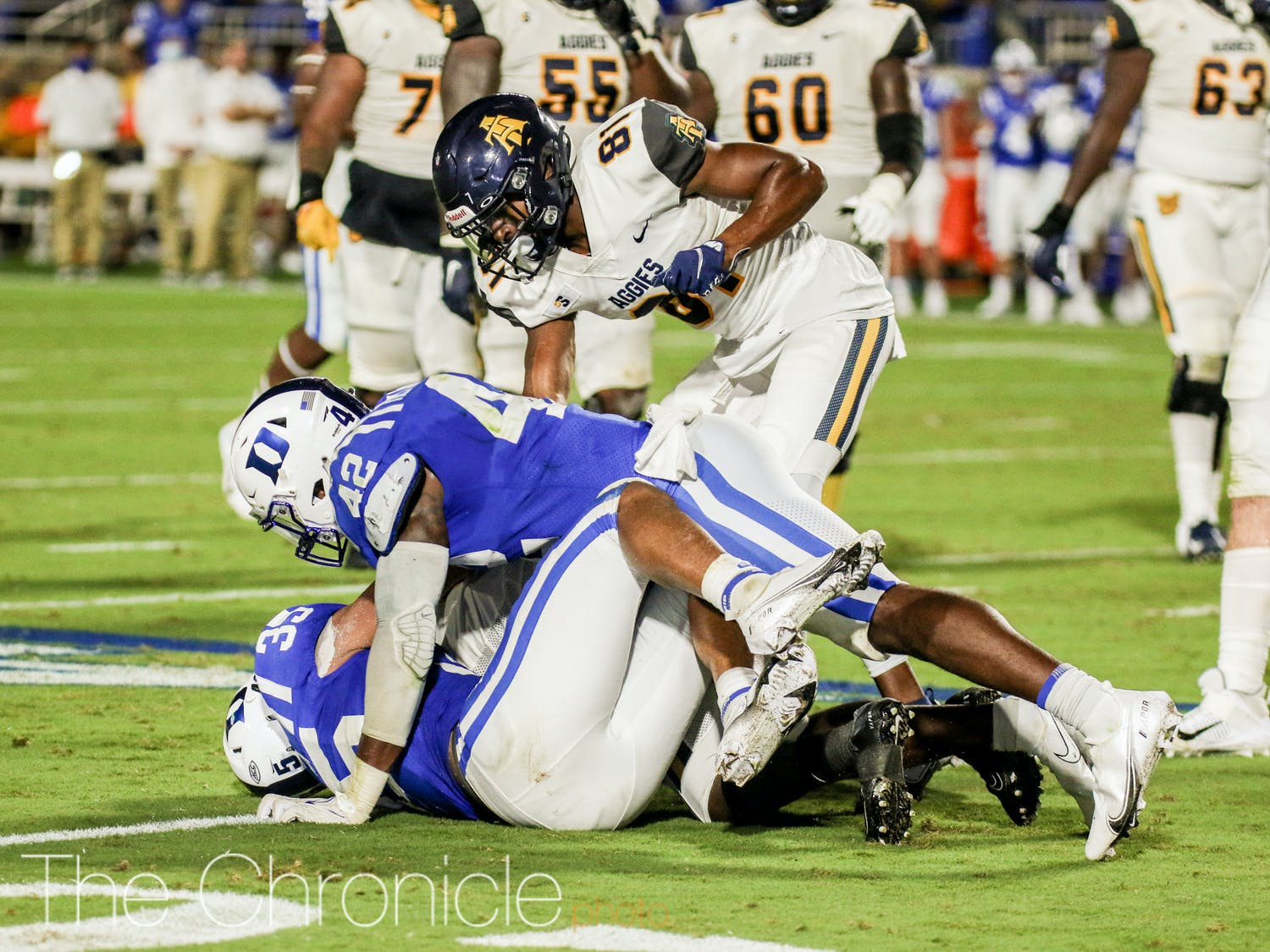 Shaka Heyward leads the Blue Devils with 32 total tackles.