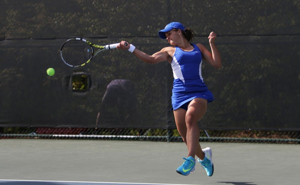 Freshman Samantha Harris outlasted her Georgia Tech opponent for a three-set singles win, but the Blue Devils fell to the Yellow Jackets 4-3.