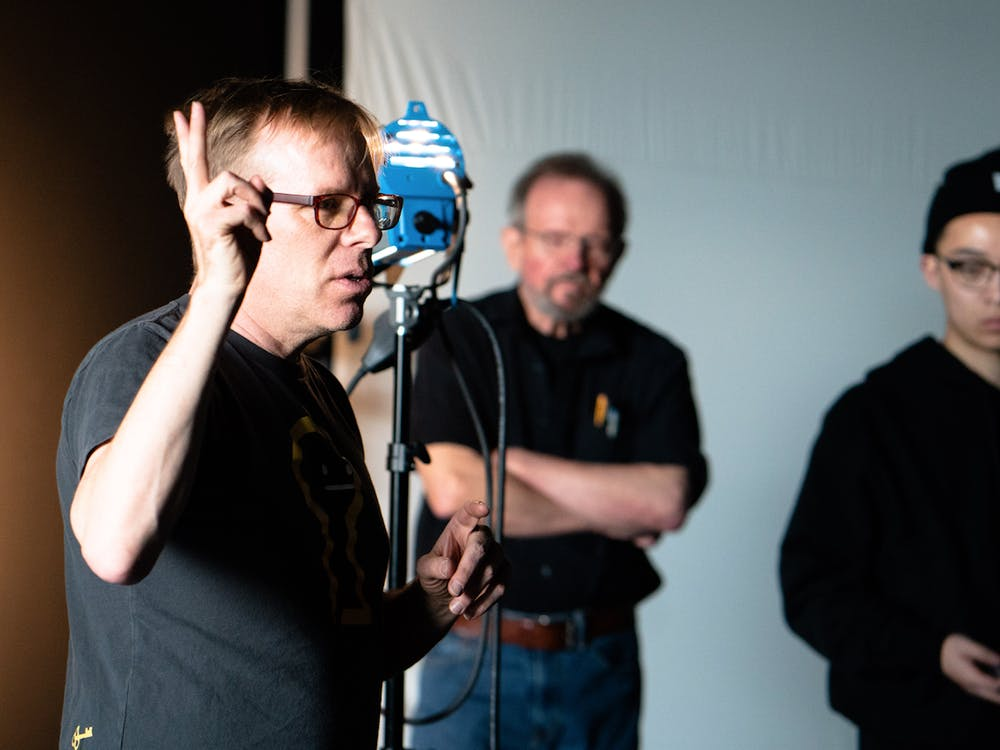 <p>AMI Lecturing Fellow Steve Milligan leads a production workshop.</p>