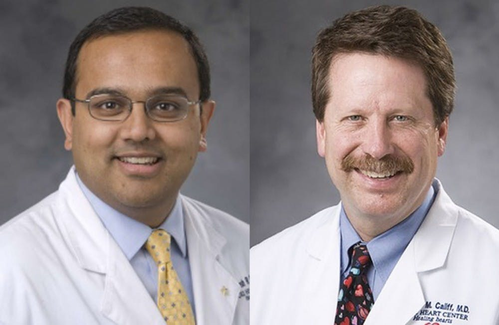 <p>Dr. Manesh Patel, member of the DCRI and associate professor of medicine, and Dr. Robert Califf, founding director of the DCRI and current commissioner of the Food and Drug Administration, led a study about a blood thinner drug that&nbsp;has been called into question.&nbsp;</p>