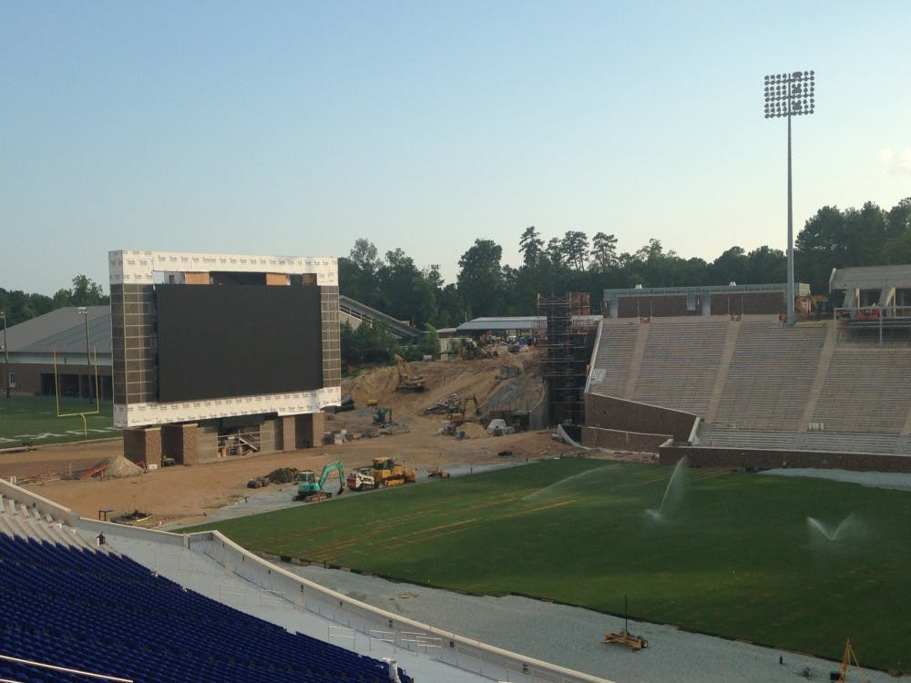 A three-day process to install new sod on the playing surface at Wallace Wade Stadium began Wednesday.