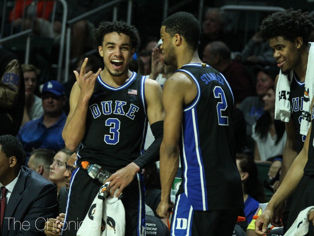 Duke has defeated its first three ACC opponents by an average of 28.7 points per game