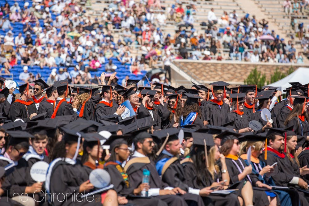 <p>Graduates of the Pratt School of Engineering celebrate as their degrees are confirmed.&nbsp;</p>