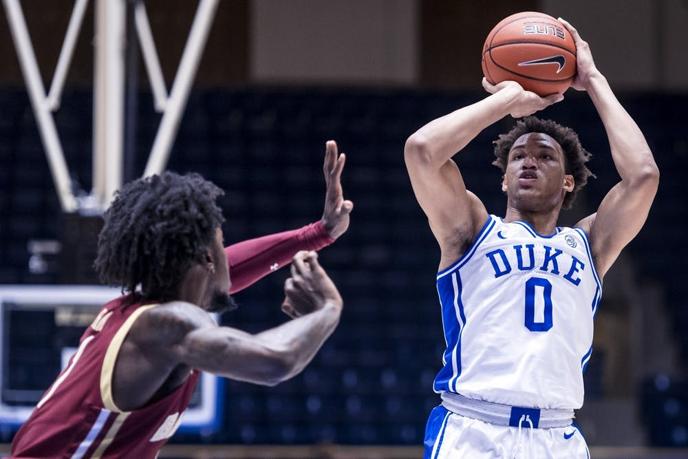 <p>Wendell Moore Jr. led the Blue Devils with 16 first half points.</p>