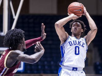 Wendell Moore Jr. led the Blue Devils with 16 first half points.