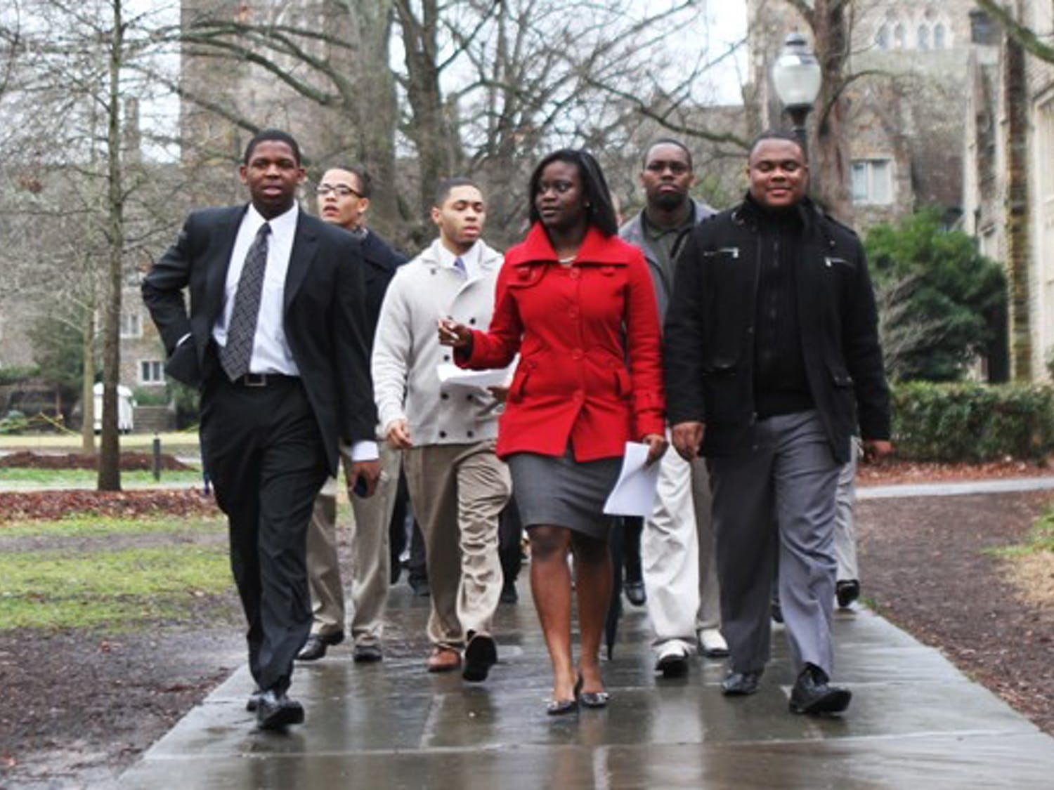 Approximately 20 members of the Black Student Alliance walked to the Allen Building Tuesday morning with a  document outlining their concerns.