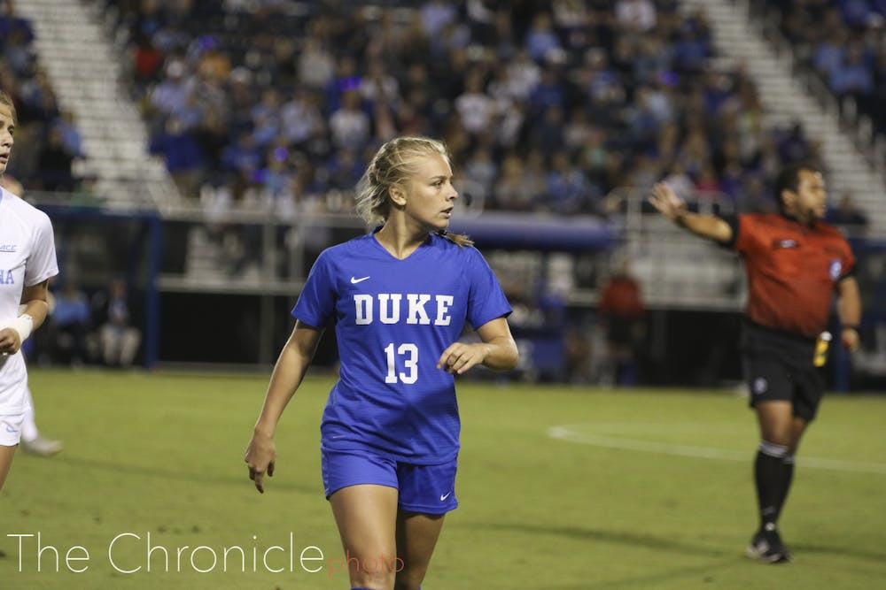 <p>Emmy Duerr scored twice against the Utes Friday night.</p>