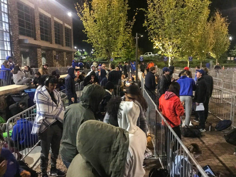 Duke students braved near-freezing temperatures to secure tickets for this weekend.