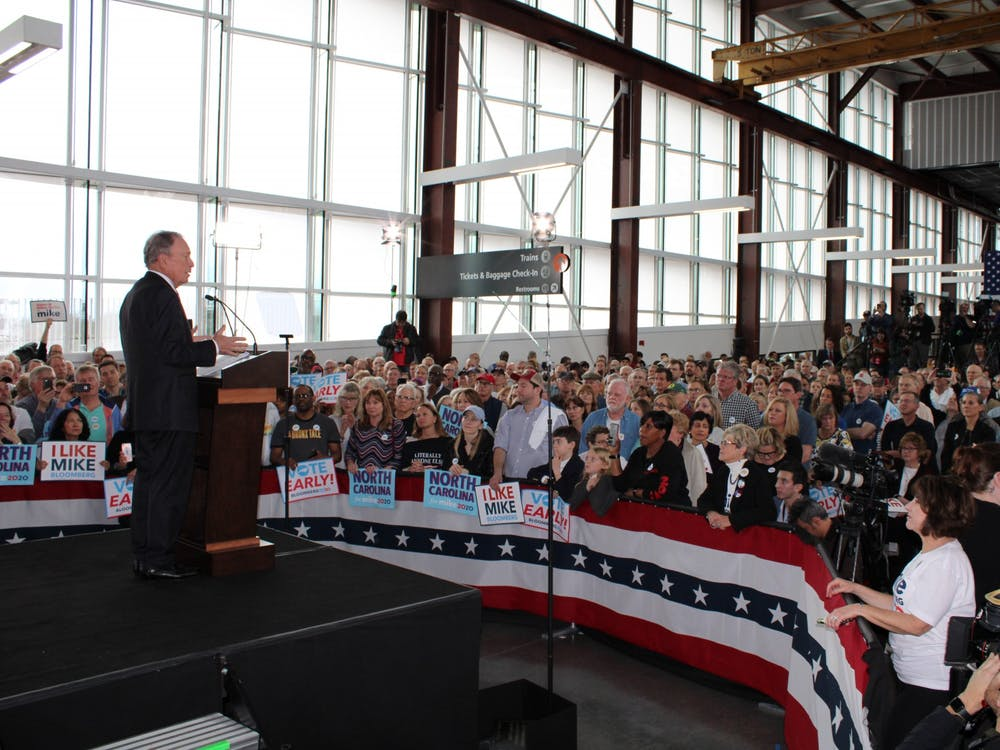 Democratic presidential candidate Michael Bloomberg speaks at a campaign event in Raleigh on Thursday, February 13.