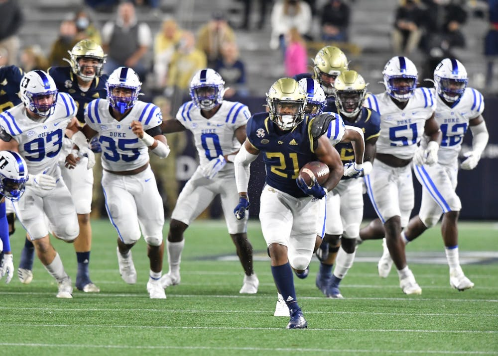 <p>Though the Yellow Jackets no longer use a triple option offense, they still torched the Blue Devils on the ground Saturday night.</p>