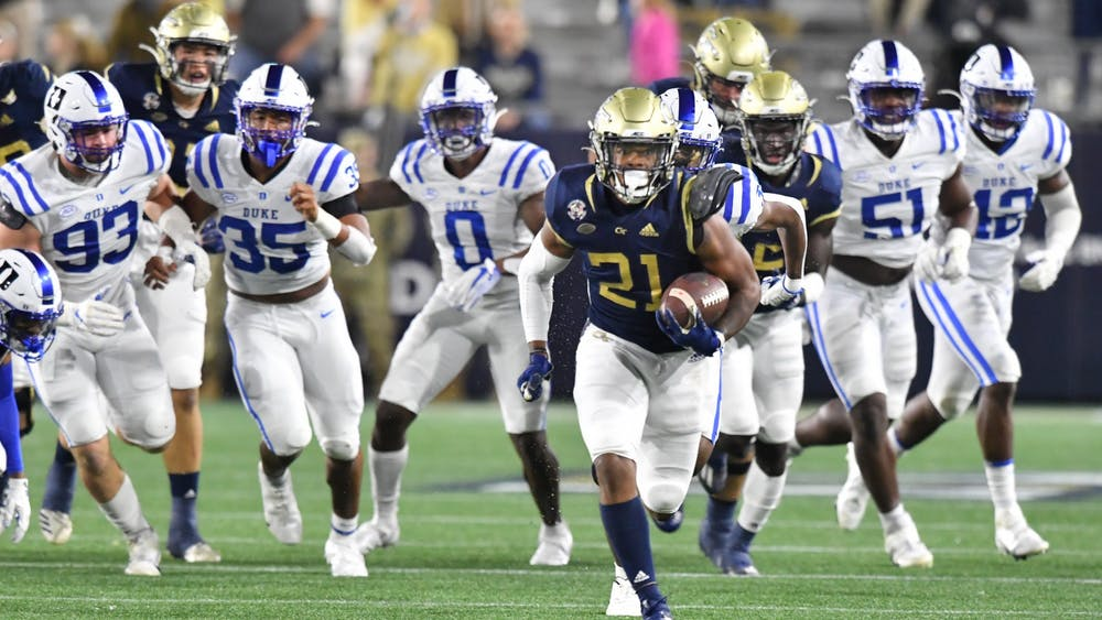 Though the Yellow Jackets no longer use a triple option offense, they still torched the Blue Devils on the ground Saturday night.