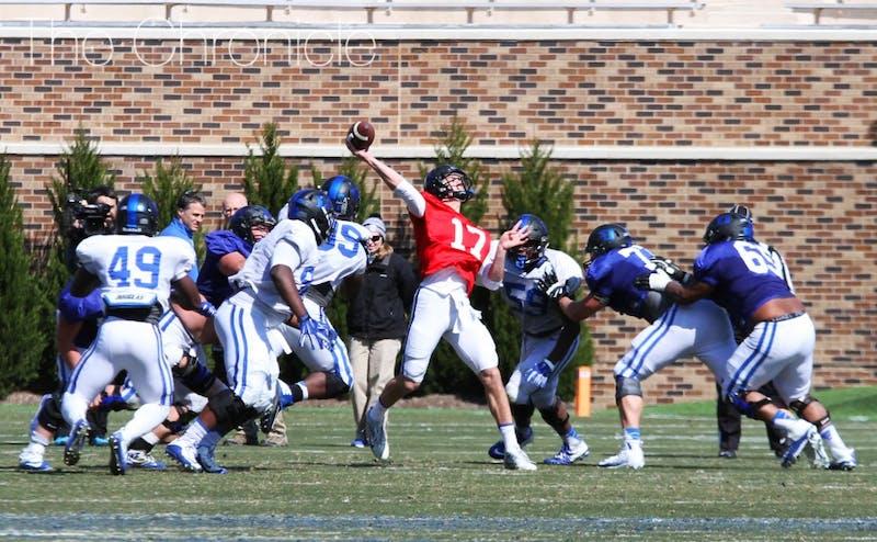 Redshirt freshman Daniel Jones and the Blue Devil quarterbacks worked on getting the ball deeper downfield Saturday.