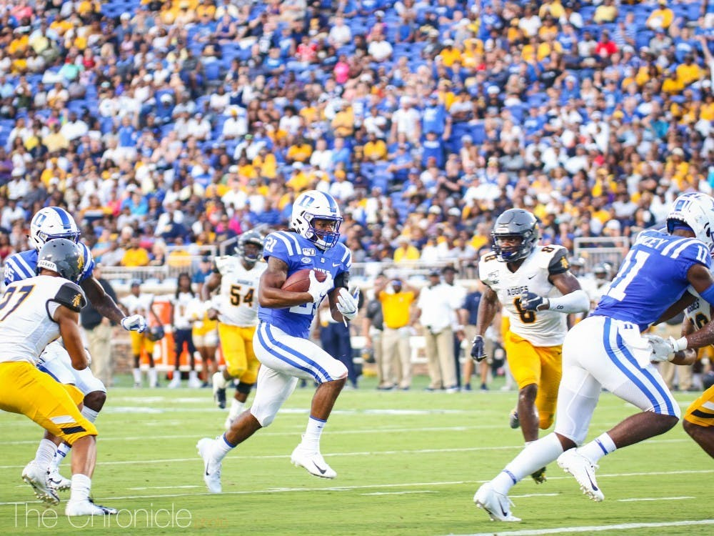 Sophomore Mataeo Durant led the Blue Devils with 74 rushing yards against the Yellow Jackets