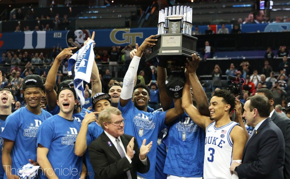 <p>The Blue Devils picked up the program's 21st ACC tournament title Saturday night in Charlotte after beating Florida State.&nbsp;</p>